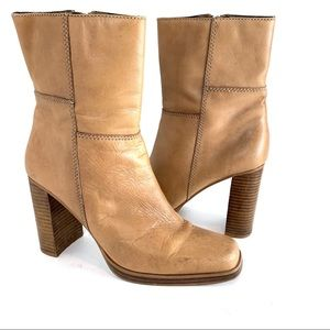 Vintage Candies Square Toe Leather Mid Calf Boots
